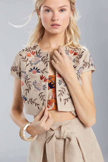 Josie Natori Straw Mixed Media Embroidered Bolero at The Natori Company