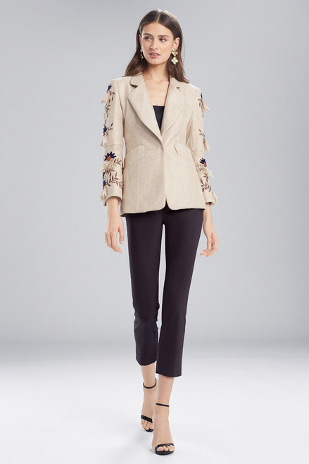 Buy Josie Natori Straw Mixed Media Blazer Jacket from