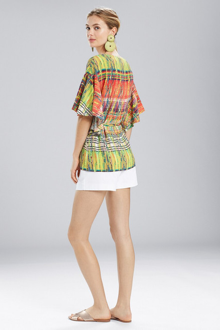 Natori Jeepney and Map Flutter Sleeve Top at The Natori Company