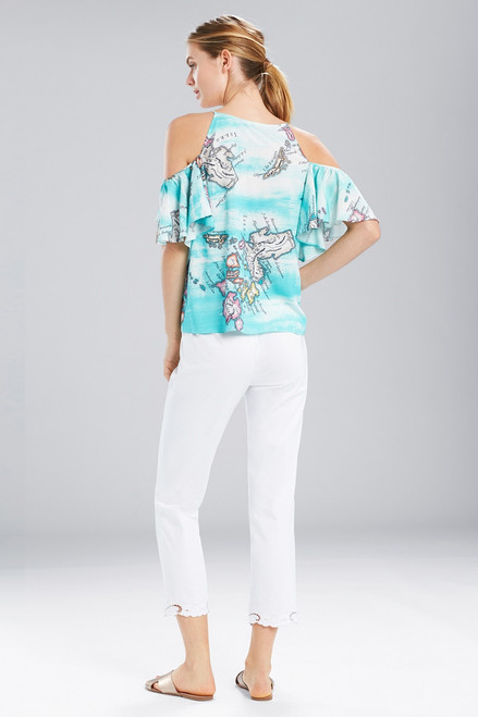 Natori Jeepney and Map Cold Shoulder Camisole-Turquoise at The Natori Company