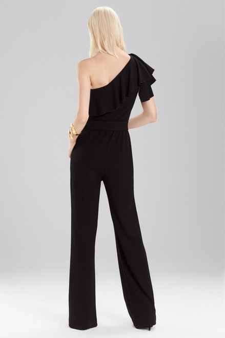 Josie Natori Knit Crepe One Shoulder Ruffle Jumpsuit at The Natori Company