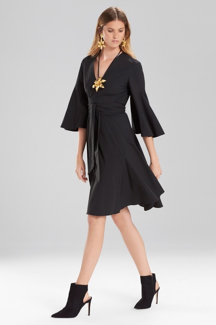 Buy Josie Natori Cotton Poplin V-Neck Wrap Dress from