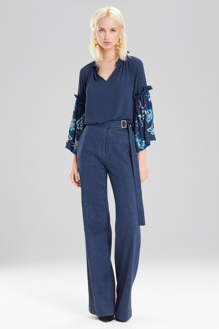 Buy Josie Natori Solid Silky Soft Peasant Top With Embroidery from