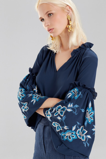 Josie Natori Solid Silky Soft Peasant Top With Embroidery at The Natori Company