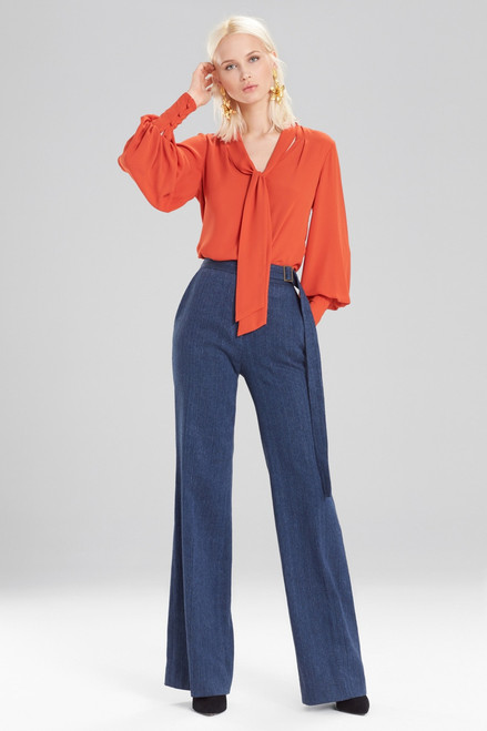 Buy Josie Natori Solid Silky Soft Tie Neck Blouse from
