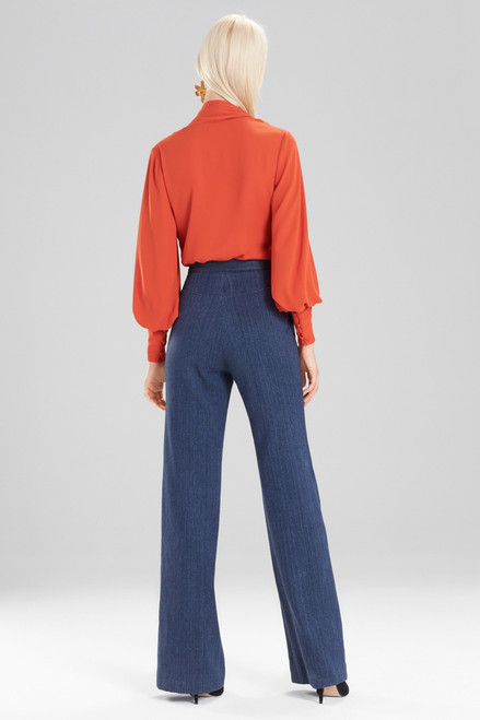 Josie Natori Solid Silky Soft Tie Neck Blouse at The Natori Company