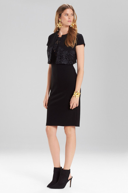 Buy Josie Natori Knit Crepe Bolero With Cutwork Embroidery from