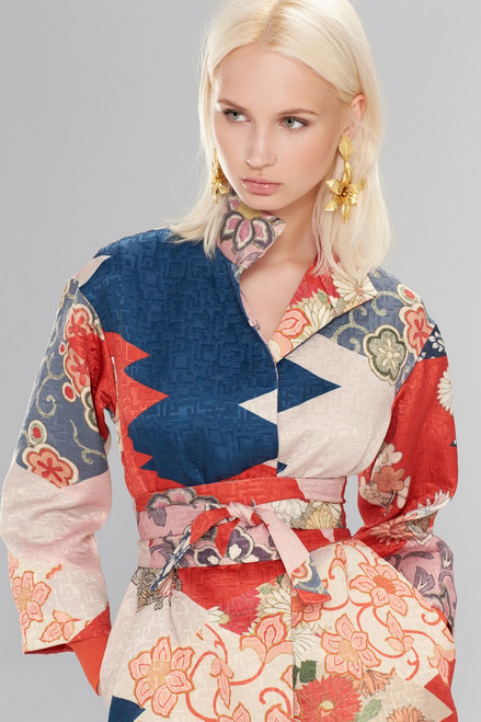 Josie Natori Kimono Patchwork Seamed Long Topper With Sash at The Natori Company