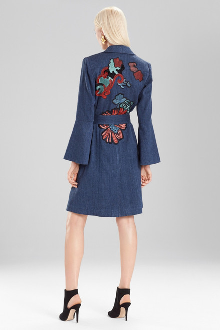 Josie Natori Casual Twill Trench Coat With Embroidery at The Natori Company