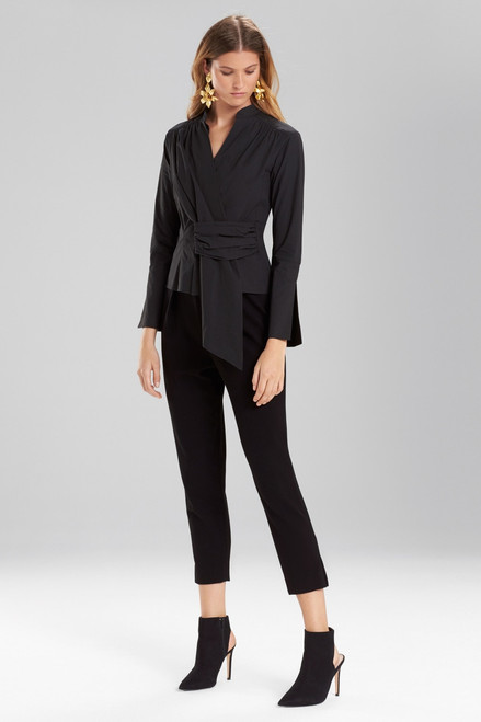 Josie Natori Cotton Poplin Front Gather Top at The Natori Company