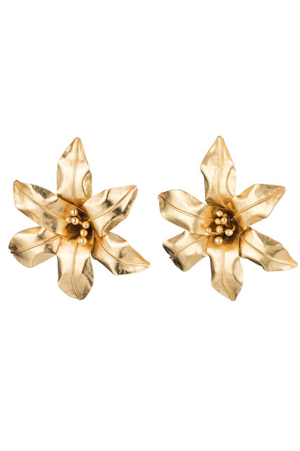 Josie Natori Brass Floral Earrings at The Natori Company