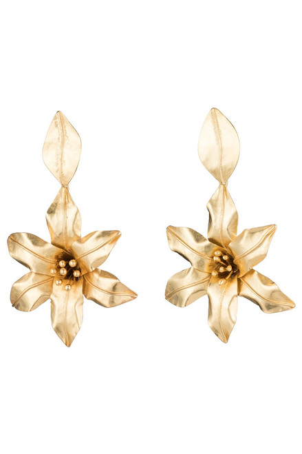 Josie Natori Brass Floral Drop Earrings at The Natori Company