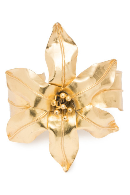 Josie Natori Brass Floral Bracelet at The Natori Company