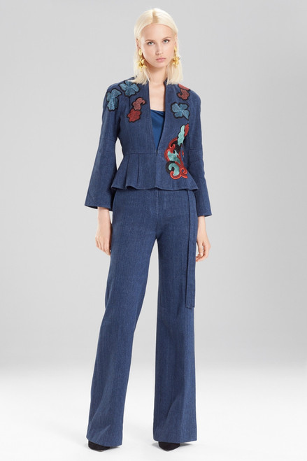 Josie Natori Casual Twill Peplum Jacket With Embroidery at The Natori Company