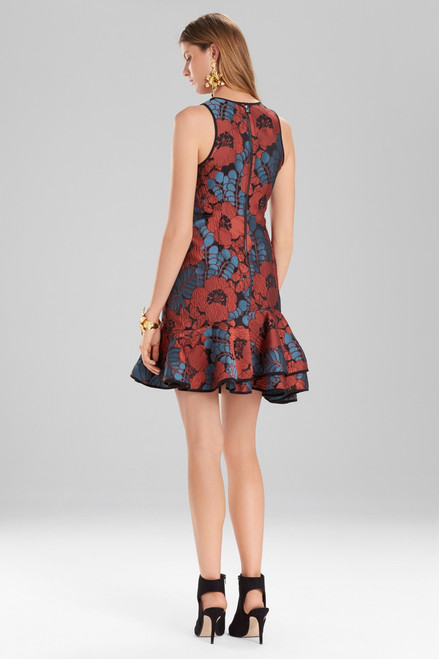 Josie Natori Novelty Jacquard Sleeveless Ruffle Hem Dress at The Natori Company