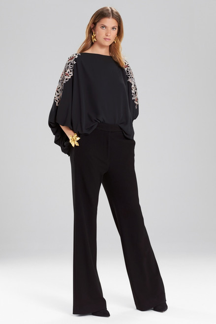 Josie Natori Solid Silky Soft Poet Sleeve Top With Embroidery at The Natori Company