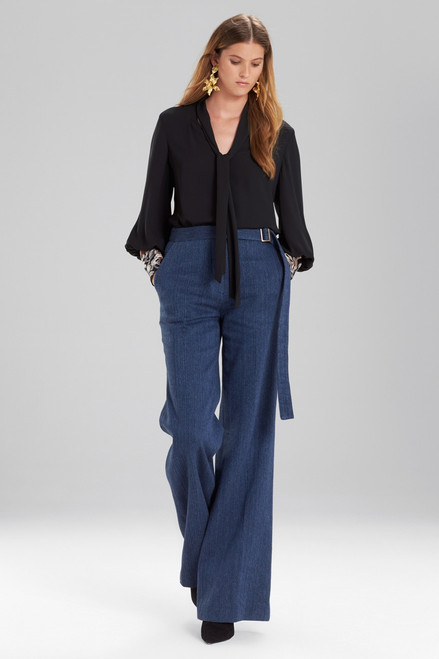 Josie Natori Solid Silky Soft Tie Neck Blouse With Embroidery at The Natori Company