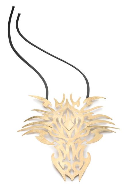 Josie Natori Hammered Brass Dragon Head Necklace at The Natori Company