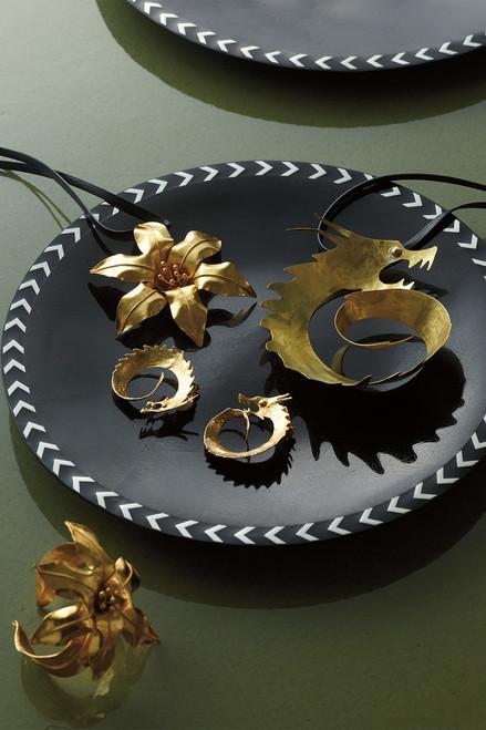 Josie Natori Hammered Brass Swirl Dragon Necklace at The Natori Company