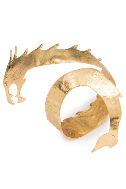 Josie Natori Hammered Brass Dragon Cuff Bracelet at The Natori Company