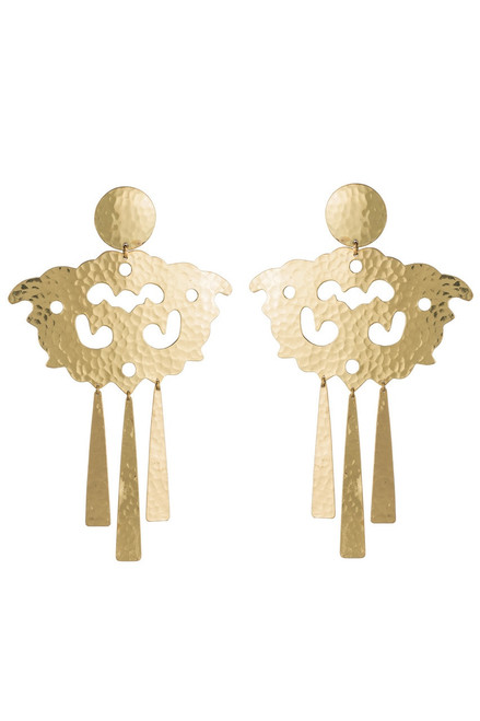Buy Josie Natori Hammered Brass Swirl Fringe Earrings from