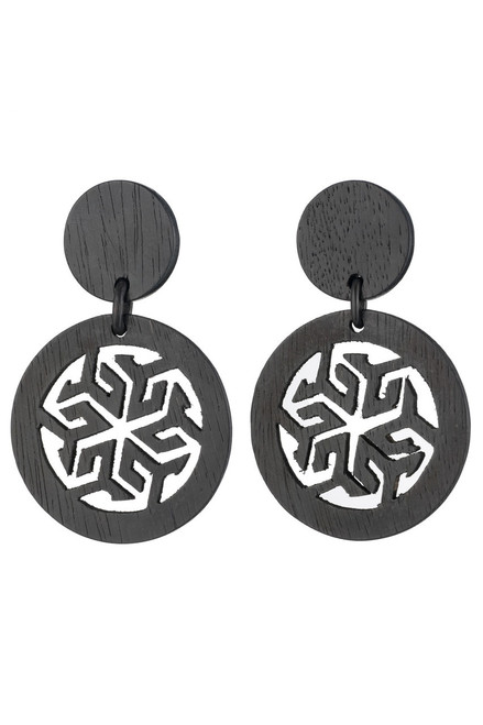 Josie Natori Horn Round Drop Earrings at The Natori Company