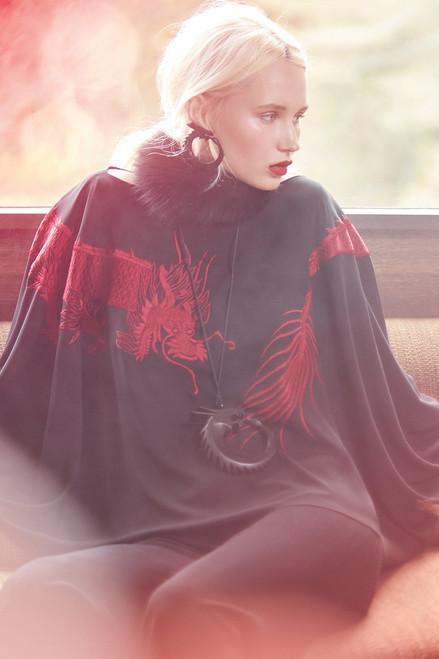 Josie Natori Solid Silky Soft Dragon Embroidery Top at The Natori Company