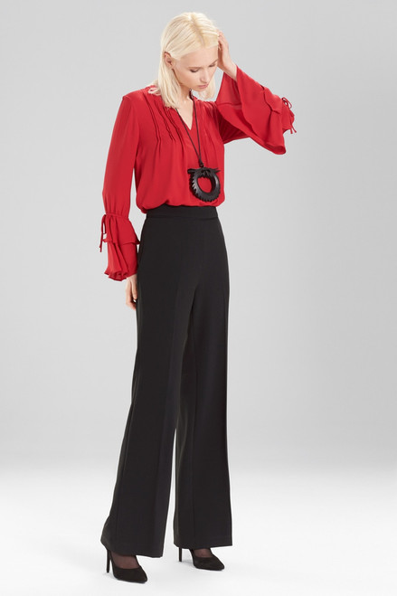 Josie Natori Solid Silky Soft Ruffle Sleeve Top at The Natori Company