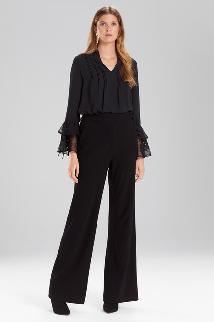 Josie Natori Solid Silky Soft Lace Ruffle Sleeve Top at The Natori Company