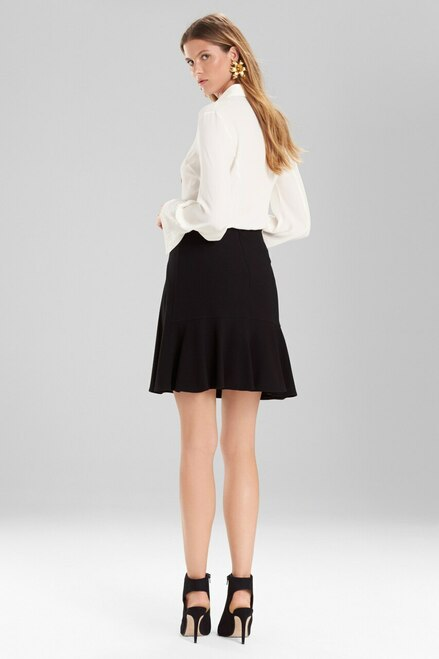 Josie Natori Knit Crepe Ruffle Skirt at The Natori Company