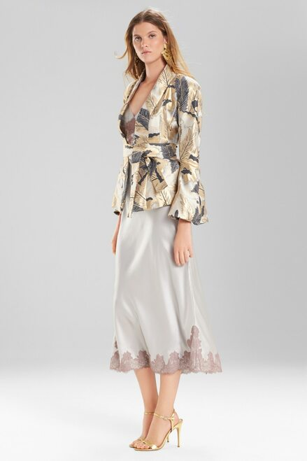 Josie Natori Metallic Feather Jacquard Topper at The Natori Company