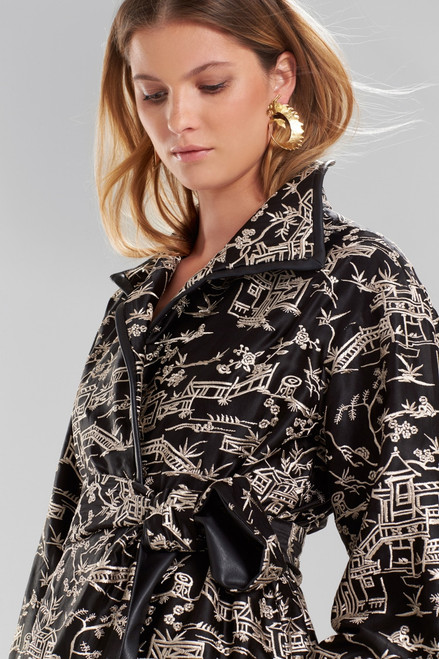 Josie Natori Silk Pagoda Embroidered Jacket at The Natori Company
