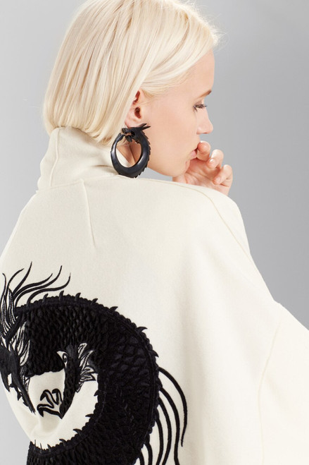 Josie Natori Felt Wool Coat With Embroidery at The Natori Company