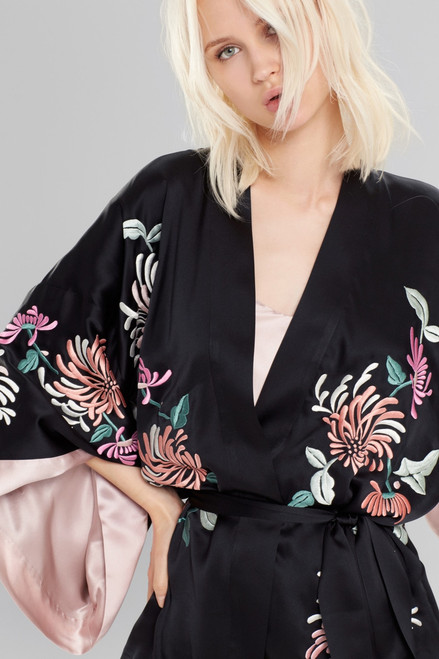 Josie Natori Chrysanthemum Embroidered Wrap at The Natori Company