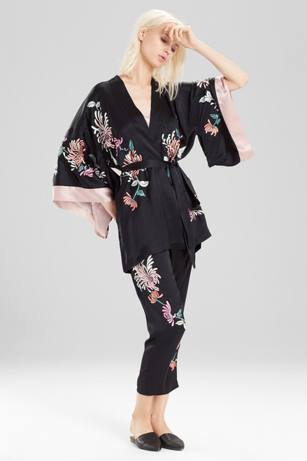 Josie Natori Chrysanthemum Embroidered Pants at The Natori Company