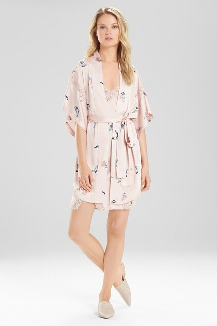 Natori Papillon Printed Feathers Satin Robe at The Natori Company