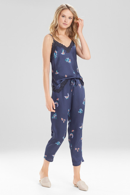 Natori Papillon Printed Feathers Satin Pants at The Natori Company