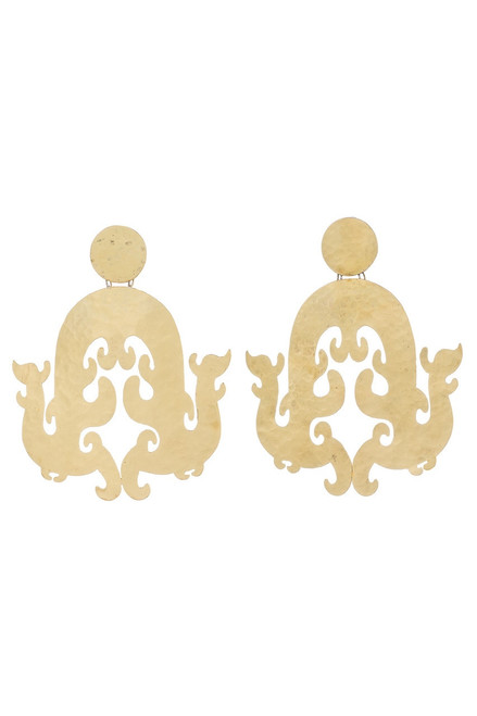 Josie Natori Hammered Brass Swirl Earrings at The Natori Company
