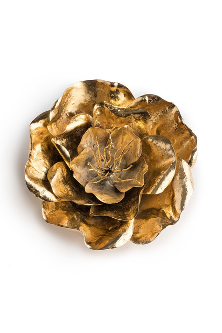 Josie Natori Gold Brass Large Peony Brooch at The Natori Company