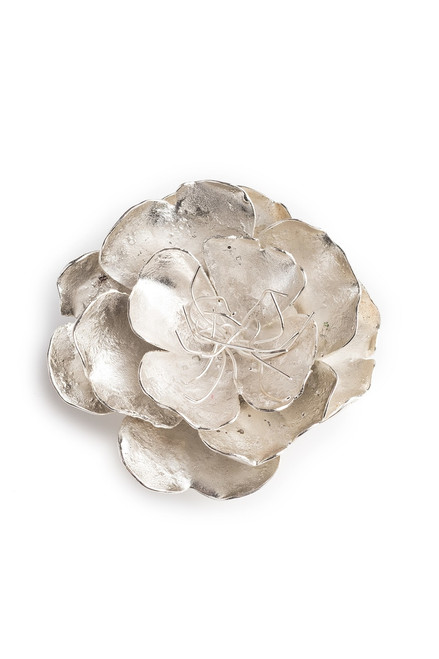 Josie Natori Silver Plated Brass Small Peony Brooch at The Natori Company