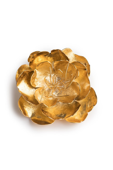 Josie Natori Gold Brass Small Peony Brooch at The Natori Company