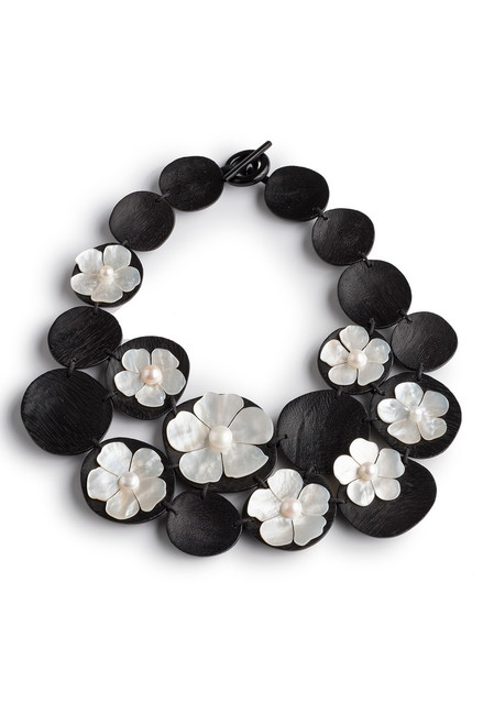 Josie Natori Mother Of Pearl Cluster Necklace at The Natori Company