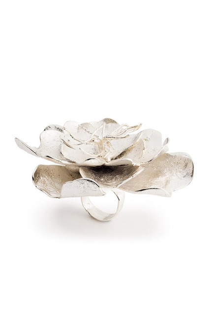 Buy Josie Natori Silver Plated Brass Peony Ring from