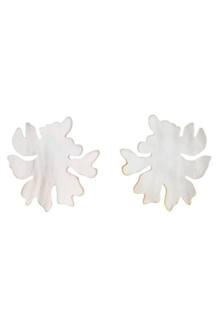Josie Natori Mother Of Pearl Coral Earrings at The Natori Company