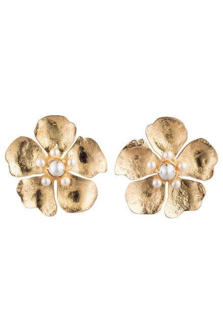 Buy Josie Natori Gold Brass Peony Earrings With Pearl from