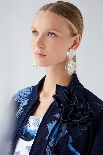 Josie Natori Silver Plated Brass Peony Earrings at The Natori Company