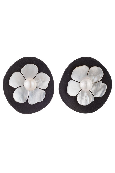 Josie Natori Acacia Wood Earrings With Mother of Pearl at The Natori Company