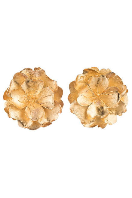 Buy Josie Natori Gold Brass Peony Earrings from
