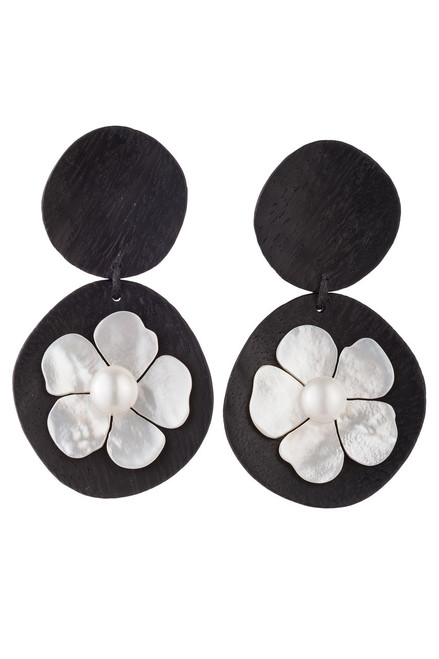 Josie Natori Acacia Wood Drop Earrings With Mother of Pearl at The Natori Company