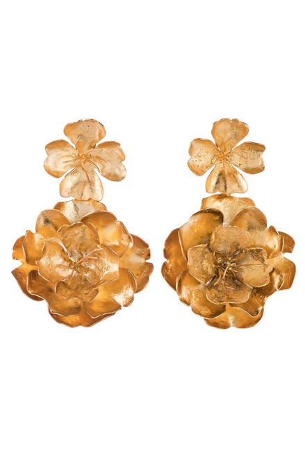 Josie Natori Gold Brass Double Peony Earrings at The Natori Company